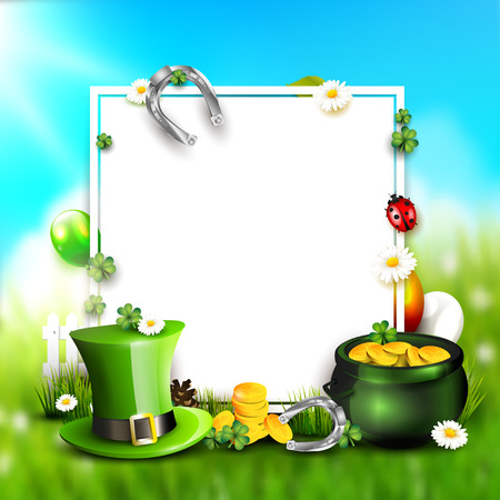 St. Patricks day background with Leprechaun`s hat, pot of gold and balloons in the colors of Ireland with space for text.