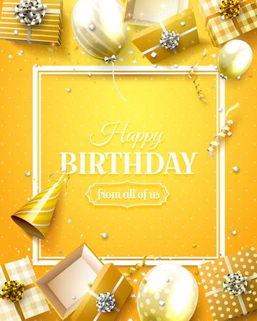 Luksusowy szablon urodzinowy z pomarańczowym konfetti, balonami urodzinowymi i pudełkami na prezenty.