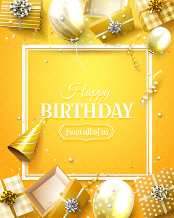 Luxury birthday template with orange confetti, birthday balloons and gift boxes.