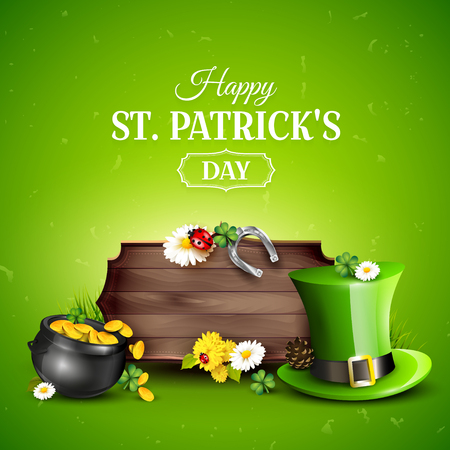 St. Patricks day background with Leprechaun`s hat, pot of gold, cloverleafs and balloons in the colors of Ireland. Empty wooden sign for your text, company icon. Illustration