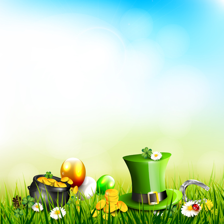 St. Patricks day background with Leprechaun`s hat, pot of gold, cloverleafs and balloons in the colors of Ireland in the grass with space for text.