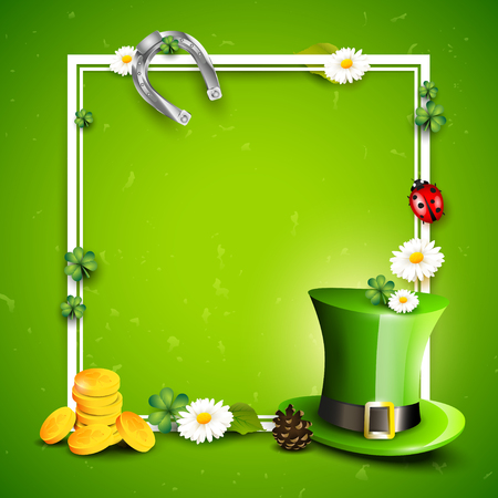 St. Patricks day background with Leprechaun`s hat, pot of gold, cloverleafs and balloons in the colors of Ireland with space for text. Illustration
