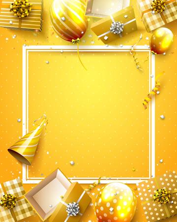 Luxe verjaardagssjabloon met oranje confetti, verjaardag ballonnen en geschenkdozen.