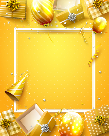 Luxury birthday template with orange confetti, birthday balloons and gift boxes. Иллюстрация