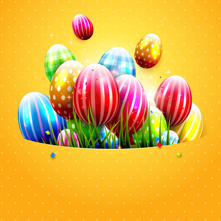 Easter greeting card with colorful eggs on orange background with space for text.