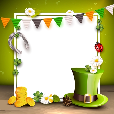 St. Patricks day background with Leprechaun`s hat, gold and garland in the colors of Ireland with space for text. Illustration