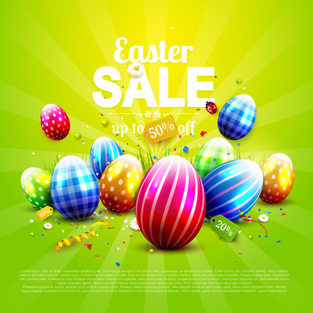 Luxury Easter sale flyer with colorful eggs on green background.