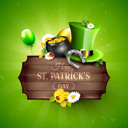 St. Patricks day greeting card with Leprechaun`s hat, pot of gold, cloverleafs and balloons in the colors of Ireland.