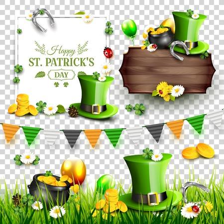 Éléments de scrapbook du jour de St. Patrick. En-têtes, frontières, guirlande sur fond transparent.