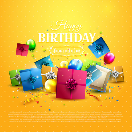 Luxury birthday greeting card with colorful gift boxes, confetti and birthday balloons on orange background. Illustration