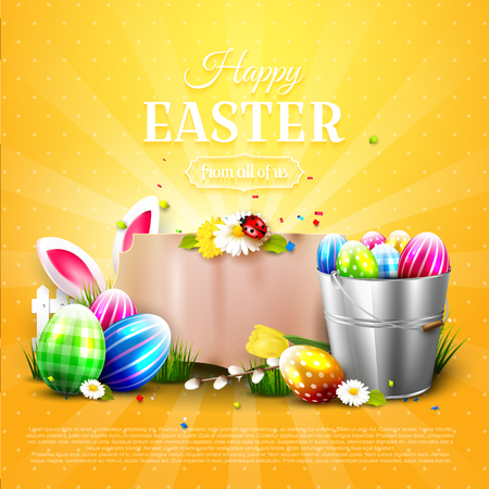 Luxury Easter template with Easter decorations and wooden sign with place for your text, company icon.