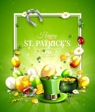 St. Patrick's Day poster with Leprechaun`s hat, pot of gold, cloverleafs and balloons in the colors of Ireland. Stock Vector - 94766710
