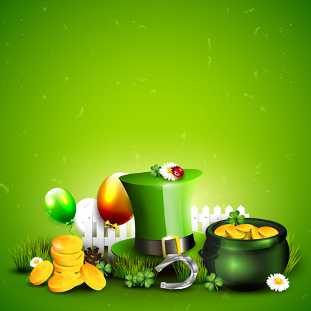 St. Patricks Day template with Leprechaun`s hat, pot of gold, cloverleafs and balloons in the colors of Ireland. Illustration