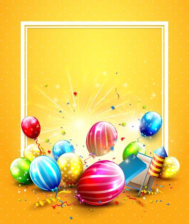 Globos y confeti de lujo del partido en fondo anaranjado. Plantilla de invitación fiesta o cumpleaños Ilustración de vector