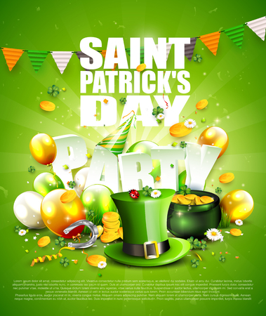 St. Patricks Day party poster with Leprechaun`s hat, pot of gold, cloverleafs and balloons in the colors of Ireland. Illustration