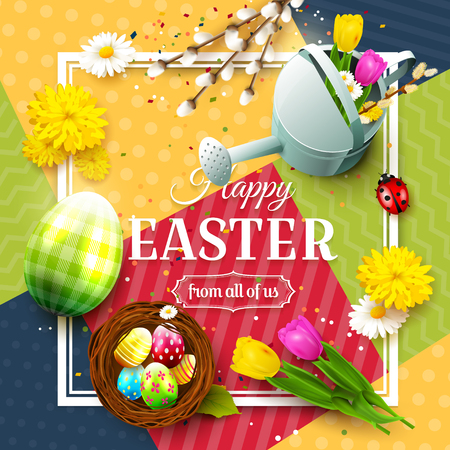 Colorful Easter greeting card with Easter decorations on colorful modern geometric background. Illustration