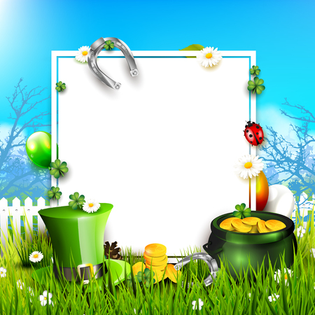 St. Patrick's Day background with Leprechaun`s hat, pot of gold and balloons in the colors of Ireland. Space for text Banque d'images - 96685088