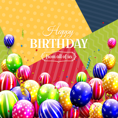 Modern birthday card with colorful balloons on modern geometric background