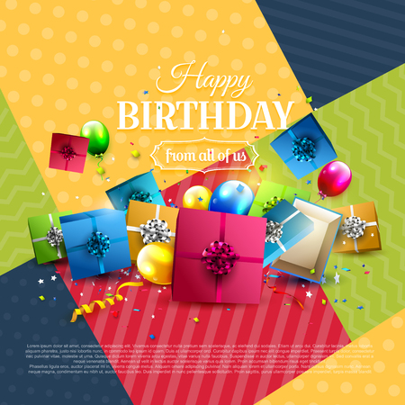 Modern birthday greeting card iwh colorful gift boxes on geometric background