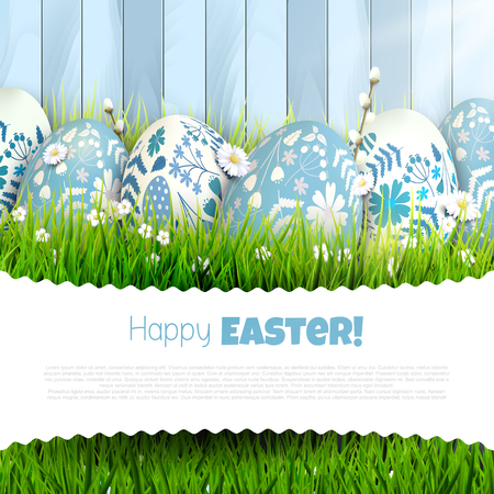 Traditional Easter greeting card with painted Easter eggs in the grass. Place for your message