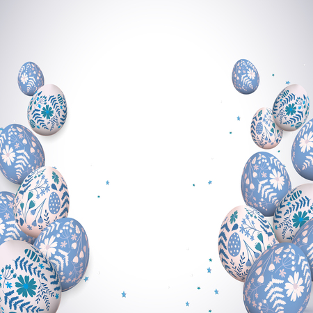 Traditional Easter greeting card with blue painted Easter eggs with floral pattern. Place for your text