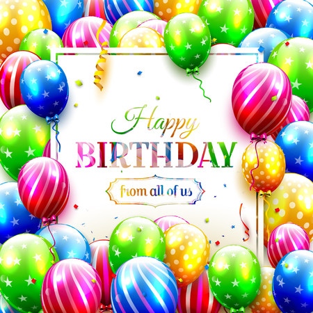 Biirthday greeting card with colorful balloons and confetti