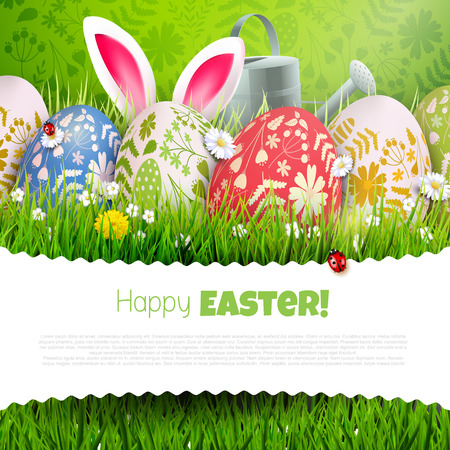 Traditional Easter background with colorful painted Easter eggs, watering can and bunny ears in the grass. Place for your message Illustration