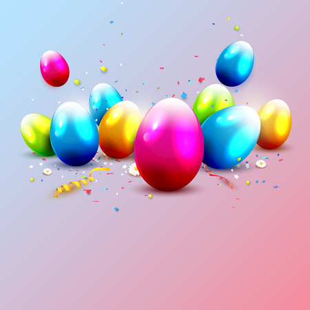 Modern Easter greeting card in trendy pastel colors. Place for your text Illustration