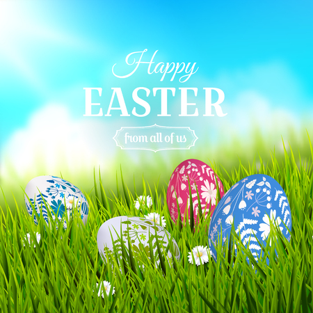 Traditional Easter greeting card with colorful painted Easter eggs in the grass.  Illustration