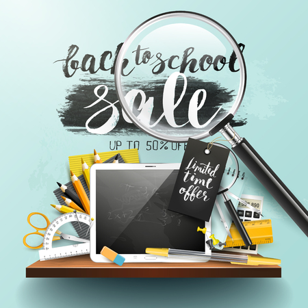 Trendy design flyer with Back to school sale brush lettering and school accessories Illustration