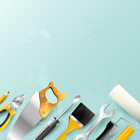 Carpentry trendy background with tools in trendy pastel colors