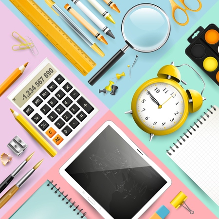 Trendy design background with school office accessories