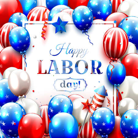 Labor Day background with balloons and confetti in the colors of the American flag