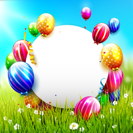 Birthday greeting card with colorful balloons in the grass