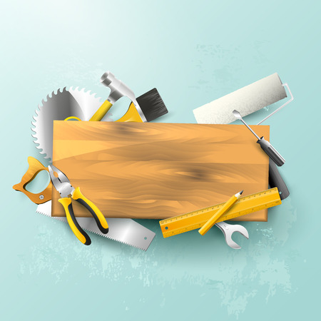 Carpentry trendy background with tools and wooden sign. Trendy pastel colors.   Illustration