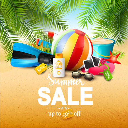 Summer sale concept - summer equipment on the beach