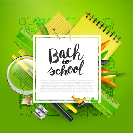 Modern design template with school accessories and Back to school hand drawn lettering