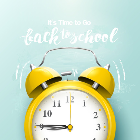 Back to school creative background with alarm clock and hand drawn lettering
