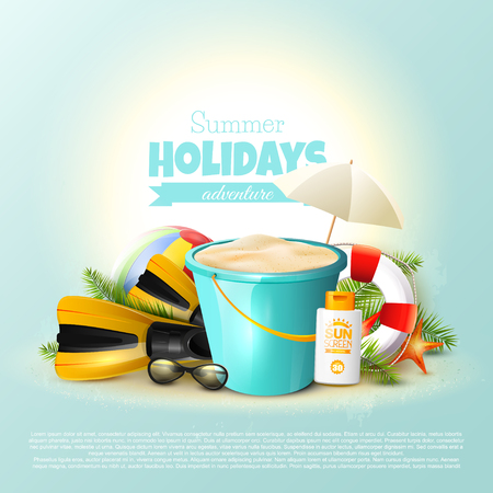 Summer holidays background with beach equipment and place for your text