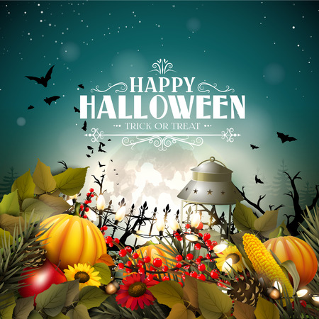 Halloween poster with pumpkins and other traditional Halloween decorations in front of a night landscape