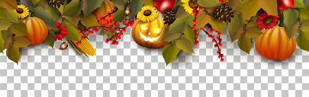 Halloween border with traditional Halloween decorations. Seamless pattern. Stock Illustratie