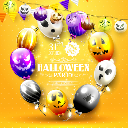 Halloween party template with colorful balloons with scary faces.