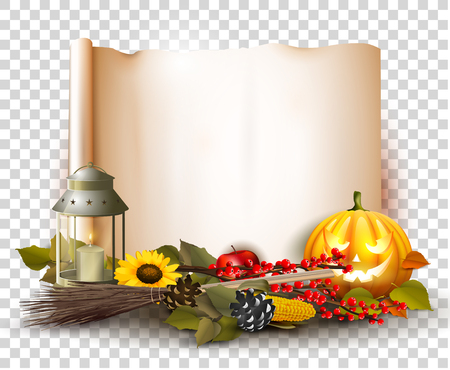 Halloween template with traditional decorations and old paper. Place for your text