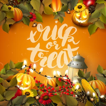 Halloween-Schablone mit Kürbissen und anderen traditionellen Halloween-Dekorationen auf orangefarbenem Hintergrund. Süßes oder Saures-Schriftzug. Vektorgrafik