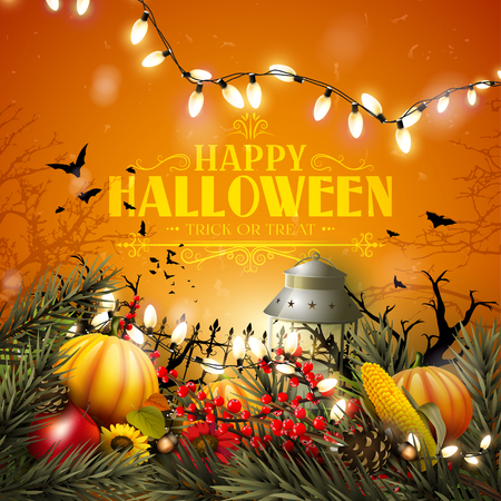 Halloween greeting card with pumpkins and other traditional Halloween decorations on orange background