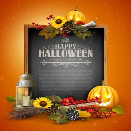 Halloween greeting card with traditional decorations and wooden sign.