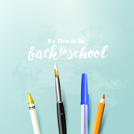 Back to school background with writing accessories on cyan background. Illustration