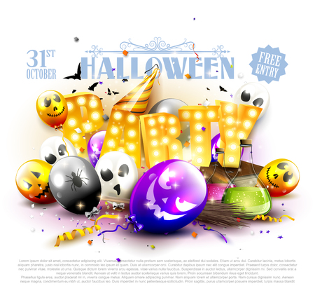 Halloween party flyer with colorful balloons with scary faces.
