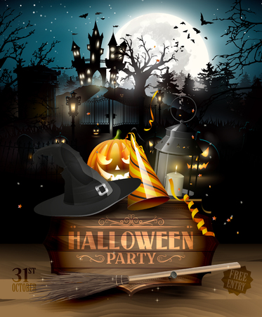 Scary graveyard and house in the woods - Halloween party background