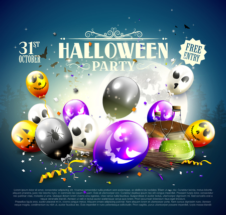 Halloween party background with balloons, confetti and Halloween decorations. Stock Illustratie